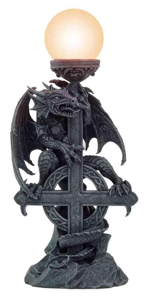 gothic stehlampe drache mit keltischem kreuz. Black Bedroom Furniture Sets. Home Design Ideas
