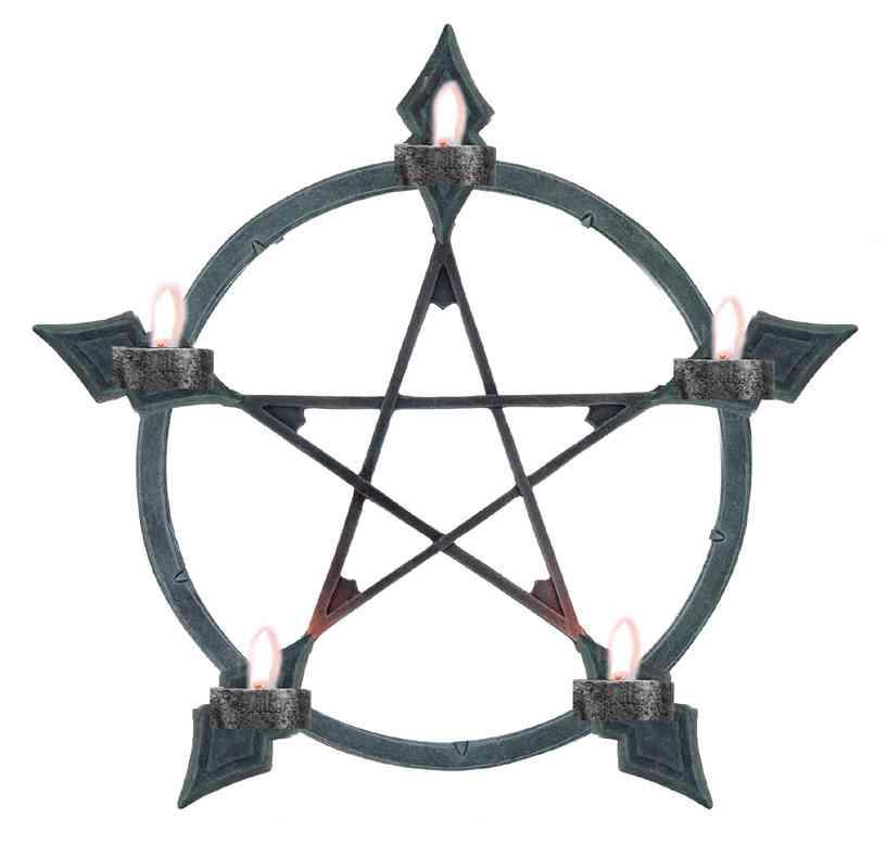 teelichthalter pentagramm f d wand 5 lichter. Black Bedroom Furniture Sets. Home Design Ideas